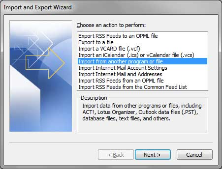 Import from other program or file menu