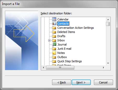 Destination contacts folder selection