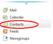 Live Mail menu Contacts