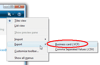 Live Mail contact export to VCF