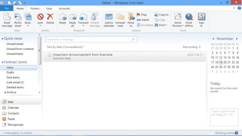 Live Mail interface
