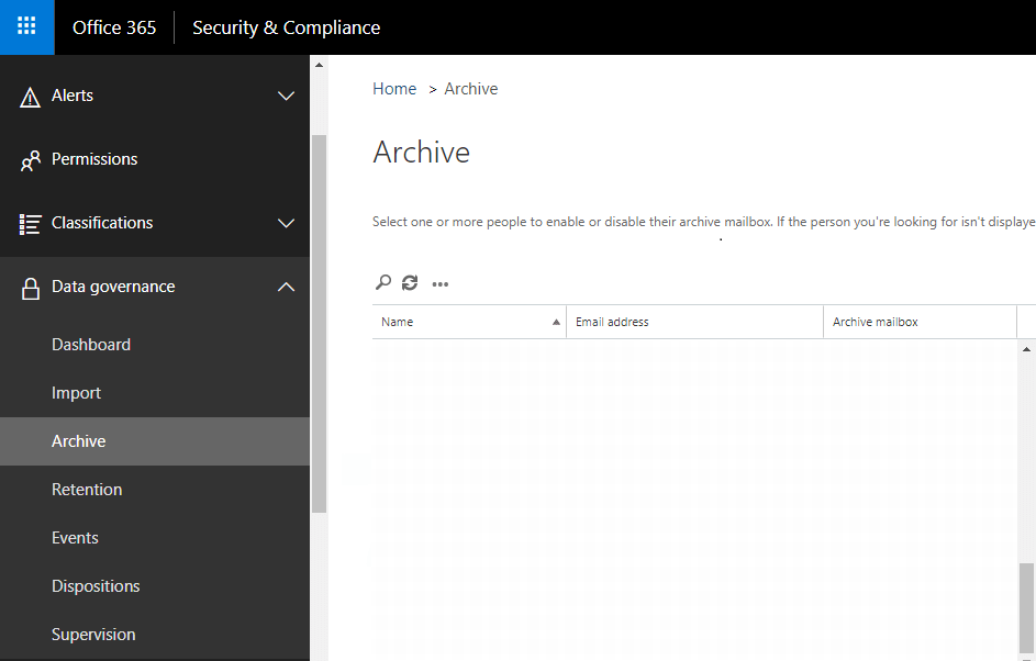 Office 365 - Email archiving