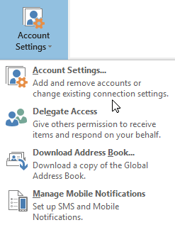 Outlook-menu accountinstellingen