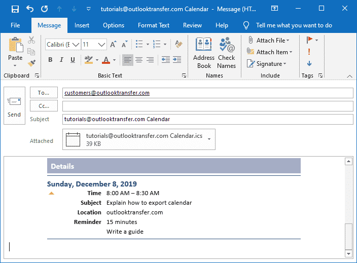 Outlook-kalenderen knyttet til e-postmelding i Outlook