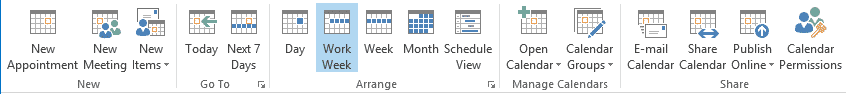 Calendario de Outlook de menú