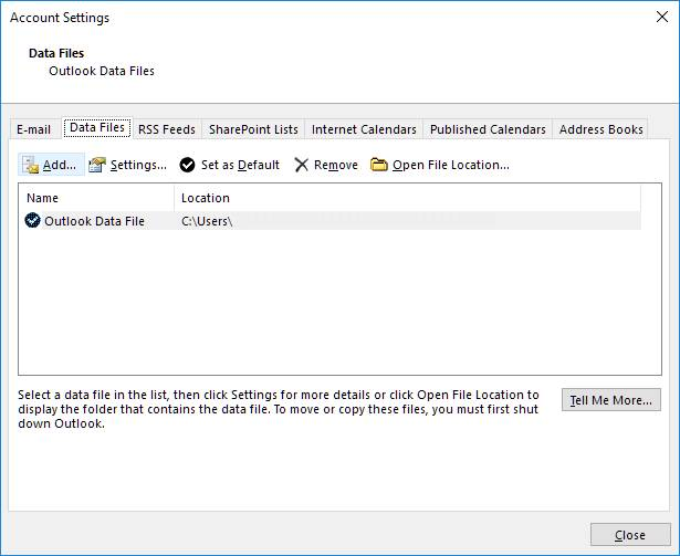 Adding new Outlook data file