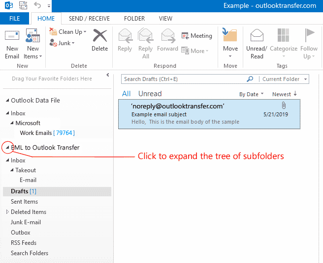 Expanda a árvore de pastas e subpastas do Outlook