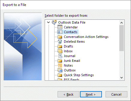 Selecting the Contacts folder to use for export