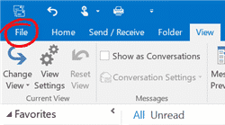 Outlook menu Bestand