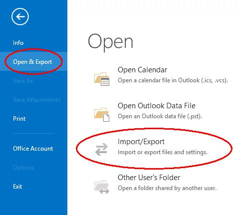Outlook Import / Export menu