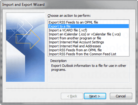 Menu Outlook Import Export vers un fichier