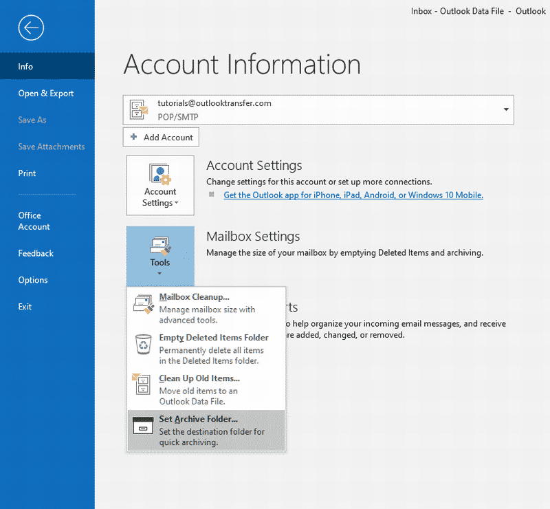 Email archiving in Outlook 2019
