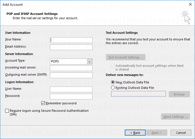 Creating new email account in Outlook