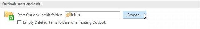 Outlook Options Advanced Start and exit