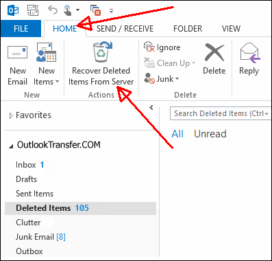 e-mail in Outlook Undelete 365