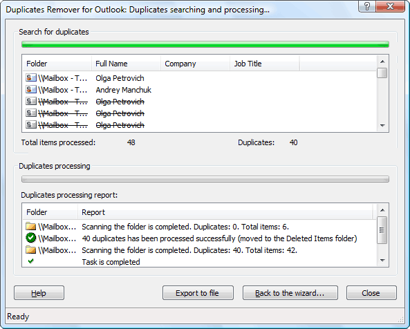 Duplicate Emails Remover add-in til Outlook