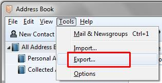 Thunderbird address book export