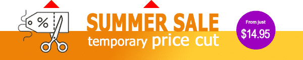 Summer sale - temporary price cut - from just $14.95