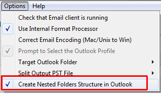 Opprett Outlook undermapper alternativ