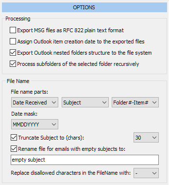 PST export options
