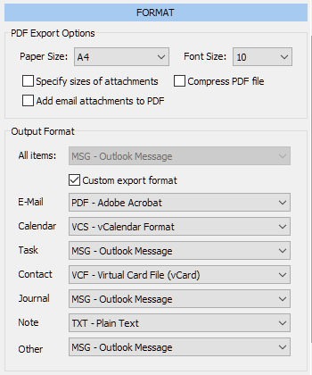 Outlook Data Exporting Formats