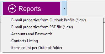 Reports button opens the list of available reports