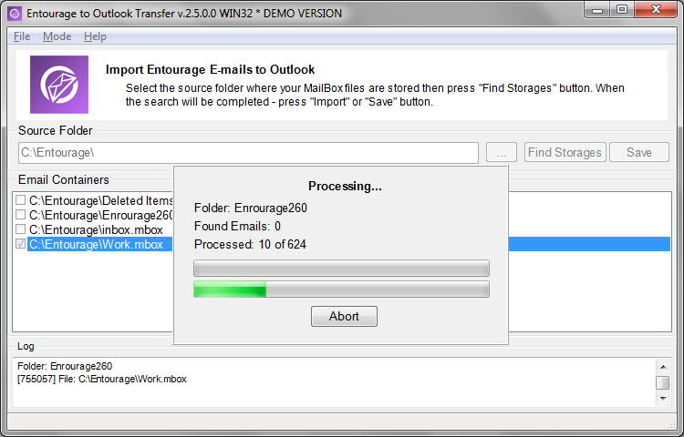 Click to view Entourage to Outlook Transfer screenshots