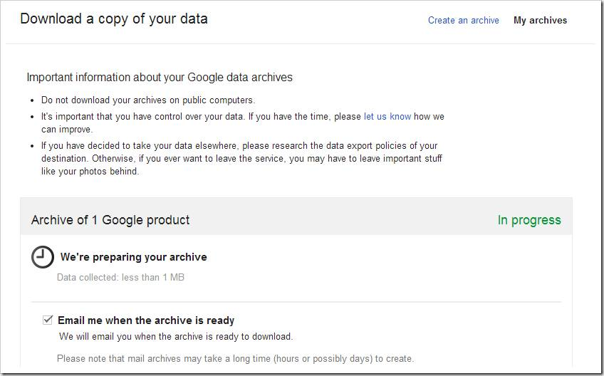 Archiving Gmail data