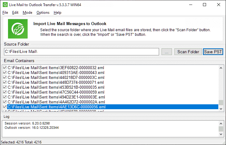 Live Mail a software di trasferimento di posta elettronica di Outlook