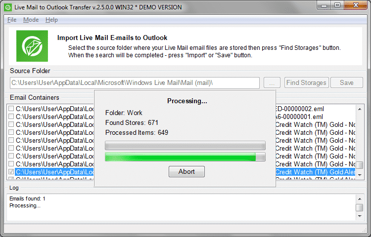 Live Mail to Outlook emails import process