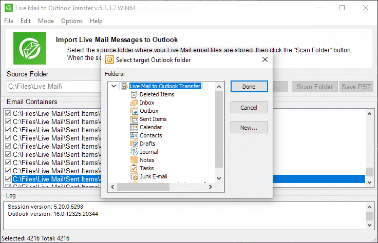 Select destination Outlook folder to import Live Mail messages.