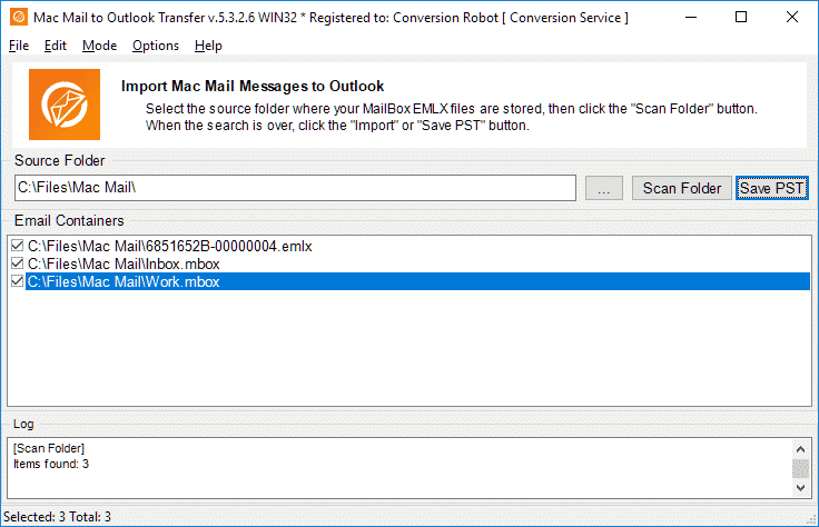 Mac Mail to Outlook Transfer Screen shot