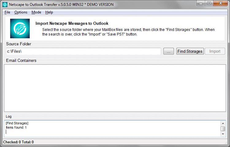 Избор на папката източник, когато Netscape съхранява имейли