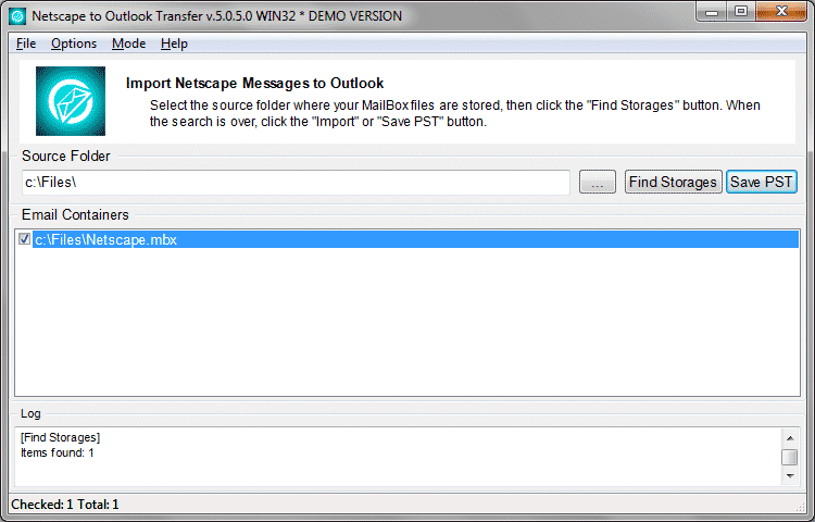 Drücken Sie speichern PST um Netscape e-Mails in PST-Datei zu speichern