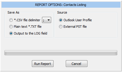 Contacts Listing report options