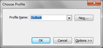 Outlook Password Recovery asks to select the Outlook Profile