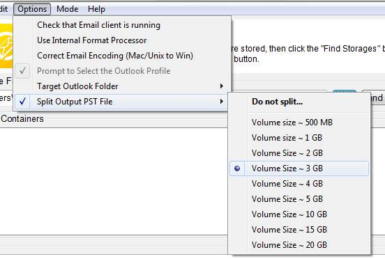 Option - Split Output PST File and Volume Size