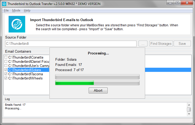 Thunderbird to Outlook Transfer Screen shot