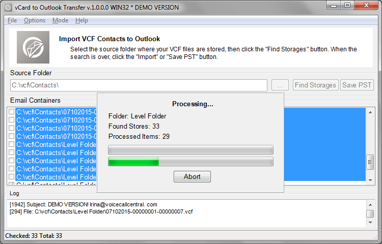 Process of importing of VCF contact files