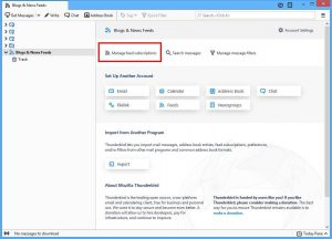 Manage Thunderbird feed subscription
