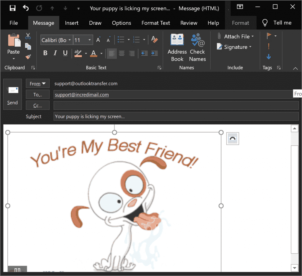 Animated GIF inserted into Outlook message