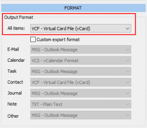 Outlook contacts export as vCard