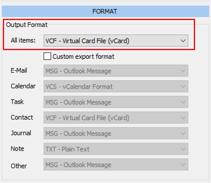 Los contactos de Outlook se exportan como vCard