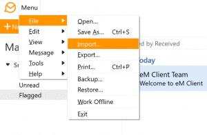 eM Client menu File - Importación