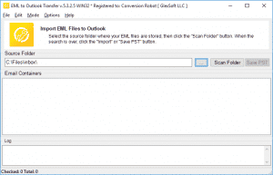 EML to Outlook Transfer - Main Screen