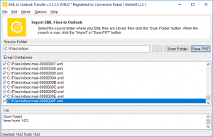 EML to Outlook Transfer - List of EML files