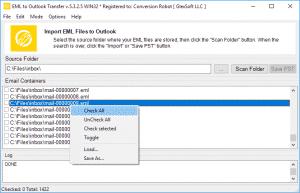 EML to Outlook Transfer - PopUp menu