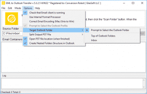 EML to Outlook Transfer - Menu Options