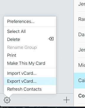 Apple vcard export