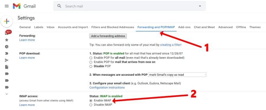 Gmail abilita IMAP